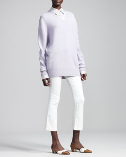 THE ROW Cashmere Boyfriend Sweater, Striped Silk Blouse & Cropped Stretch-Denim Leggings