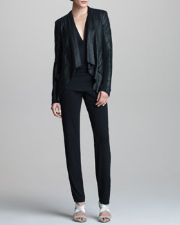 Donna Karan Lambskin Leather Drape Jacket, Superfine Jersey Top & Refined Matte Jersey Pants