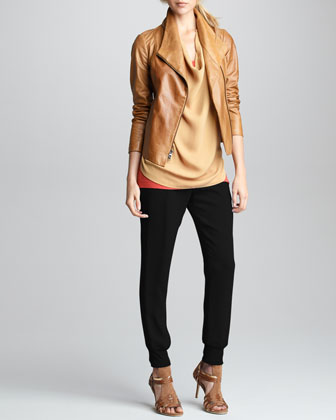 Leather Jacket, Silk Cowl-Neck Top, Favorite Tank & Silk Sweatpants