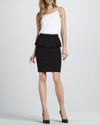 Sleeveless Bodysuit & Natasha Peplum Pencil Skirt