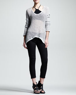 Helmut Lang Brushed Sheer-Knit Pullover, Asymmetric Jersey Bra & Cropped Skinny Jeans