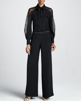 Carolina Herrera Chantilly Lace-Sleeve Blouse & Silk Crepe Wide-Leg Trousers