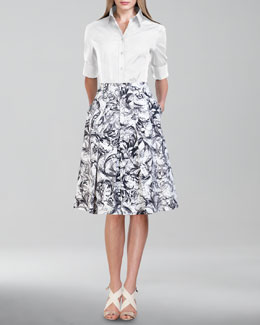 Carolina Herrera Basic Button-Front Shirt & A-Line Skirt
