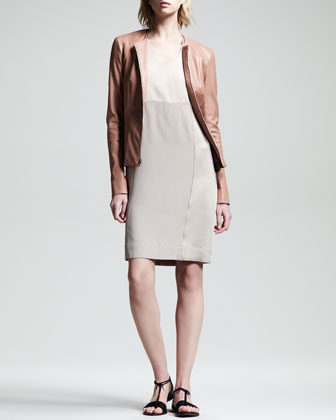 Stretch-Leather Peplum Jacket & Crepe-Back Satin Dress