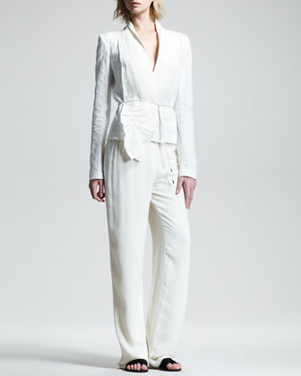 Macro Cotton Jacquard Jacket, Stretch-Georgette Camisole & Drawstring Pajama Pants