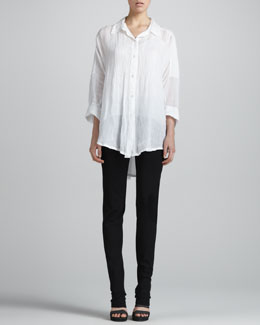 Donna Karan Pintucked Button-Front Tunic & Slim Straight-Leg Pants
