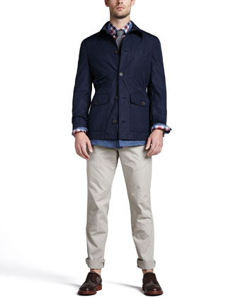 Water-Repellant Safari Jacket, Double-Breasted Linen Jacket, Plaid Linen Sport Shirt & Cotton ...
