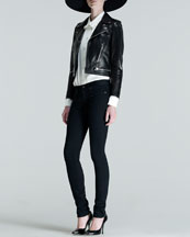 Saint Laurent Large Wool Fedora, Perfecto Leather Jacket, Silk Pintucked Blouse & Low-Rise Skinny Jeans