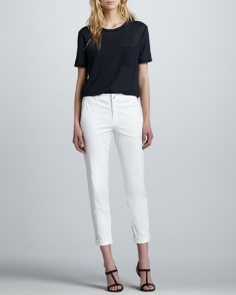Silk Pocket Tee & Fitted Cropped Twill Pants