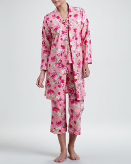 Bedhead Cabbage Rose Knit Robe & Classic Short-Sleeve Pajamas