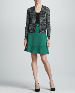Space-Dye Mesh Knit Cardigan, Zigzag Tank & Leaf Wool A-line Skirt