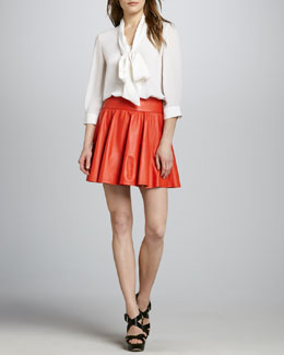 Alice + Olivia Arie Tie-Neck Blouse & LuAnn Pleated Leather Skirt