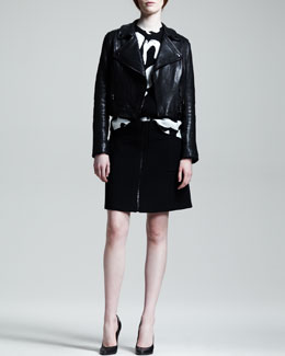 Proenza Schouler Lamb Leather Motorcycle Jacket, Sleeveless Brushstroke Text Shell & Zip-Front A-Line Skirt