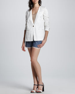 Elizabeth and James Athena Split-Side Blazer, Norma Ruffle-Hem Top & Jake Chambray Shorts