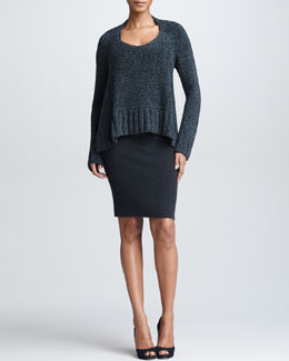 Donna Karan Cropped Trapeze Sweater & Fitted Knit Tank Dress
