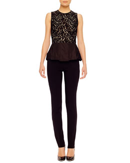 Michael Kors  Lace Peplum Top & Stretch Crepe Pants