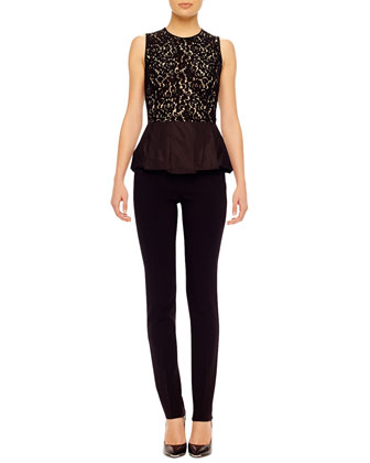 Lace Peplum Top & Stretch Crepe Pants