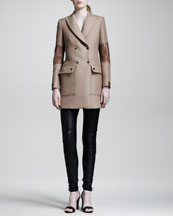 Belstaff Andover Leather-Panel Coat, Studded Silk Blouse & Wilton Skinny Leather Moto Pants