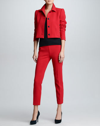 Cropped Wool Jacket, Cashmere Sleeveless Shell & Cropped Wool Pants