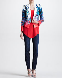 Roberto Cavalli Printed Twill Jacket, Racerback Silk Blouse & Slash-Pocket Skinny Jeans