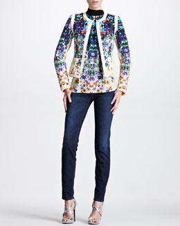 Roberto Cavalli Quilted Floral-Print Jacket, Tropical Floral-Print Halter Top & Slash-Pocket Skinny Jeans