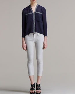 Helmut Lang Soft Shroud Button-Down Blouse and Halo High-Gloss Cropped Skinny Pants