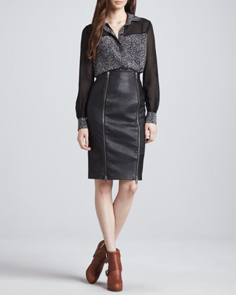 Capri Long-Sleeve Blouse & Brie Stretch Leather Pencil Skirt