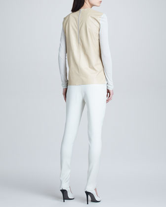Lucent Leather-Back Top & Noa Tapered Pleated Suit Pants
