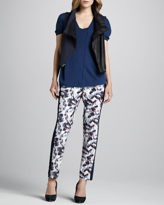Pieced Top, Printed Pants & Motorcycle-Style Vest