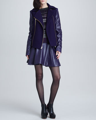 Gravity Mix-Fabric Pea Coat, Night Sky Knit Sweater, & Telescope Flared Skirt
