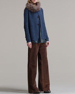 Brunello Cucinelli Paillette Elbow-Patch Sweater, Folded-Shoulder Silk Tank, Wide-Leg Velvet Trousers & Cashmere-Shearling Snood