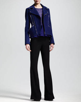 Nubuck Motorcycle Jacket, Sleeveless Lace Peplum Top & High-Waist Flare Pants