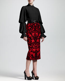 Alexander McQueen Double-Puff Sleeve Blouse, Jacquard-Flocked Pencil Skirt, and Wide Leather Belt