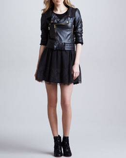 RED Valentino Napa Leather Moto Jacket & Crepe Jersey Dress with Chantilly Lace Skirt