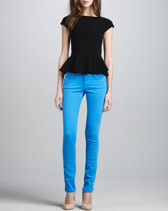 Ella Peplum Tee & Five-Pocket Skinny Jeans