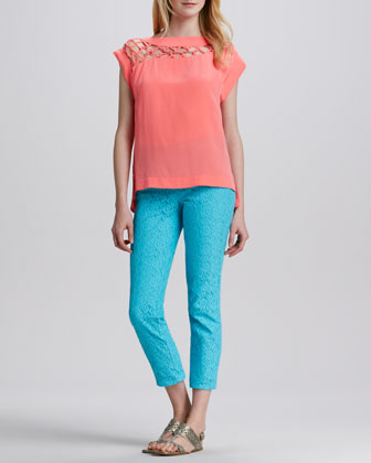 Tossa De Mar Silk Top & Lace-Texture Slim Pants
