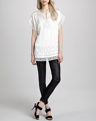 Cutout-Trim Tunic & Karen Leather Stretch Pants