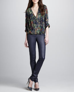 Alice + Olivia Gemma Floral-Print Top & Leather Zip-Front Leggings