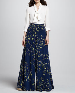 Alice + Olivia Arie Tie-Neck Blouse & Super-Flare Wide-Leg Pants