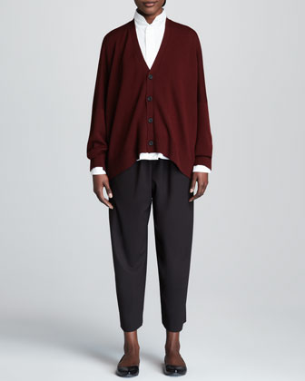 Wide Merino Wool Cardigan, Double-Collar Cotton Poplin Blouse & Cropped Wide-Leg Trousers