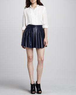 Alice + Olivia Pintucked Stretch-Silk Blouse & Pleated Leather Skirt