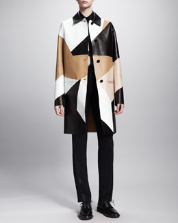 Givenchy Patchwork Leather Coat, Mosaic-Print Silk Blouse & Suspender-Detail Tuxedo Pants