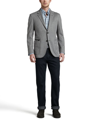 Soft Melange Two-Button Blazer, Long-Sleeve Plaid Sport Shirt & Dark Indigo Jeans