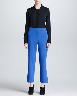 Armani Collezioni Long-Sleeve Blouse & Lightweight Wool Pants