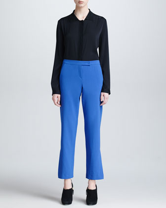 Long-Sleeve Blouse & Lightweight Wool Pants