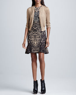 M Missoni Metallic Mesh Short Cardigan & Lizard-Print Jacquard Dress