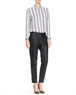 Theory Aquilina B Compile Blouse & Kanga L Magazine Leather Pants