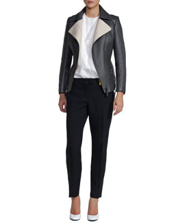Fendi Pickstitched Selleria Leather Jacket, Short-Sleeve Cady Top & Classic Stretch Wool Pants