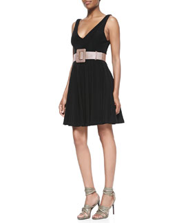 Alice + Olivia Bailey Plunging Flounce Dress & Wide Waist Belt