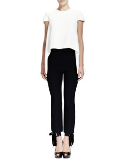 Alexander McQueen Cap-Sleeve Combo High-Low Top and Cap-Sleeve Combo High-Low Top